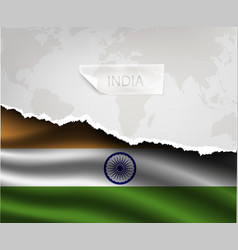Paper with hole and shadows india flag vector
