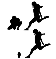 Place kick field goal silhouettes vector