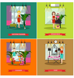 Set of cleaning posters banners in flat vector