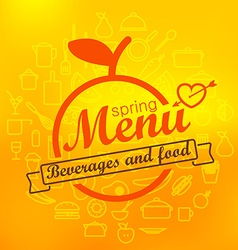 Spring menu label design lineart concept vector
