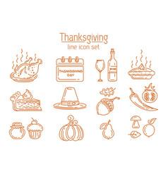 Thanksgiving line icon set vector