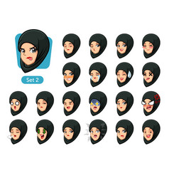 the second set of muslim woman cartoon avatars vector image vector image