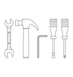 Tools line icons vector