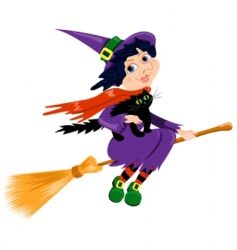 witch and cat vector image vector image