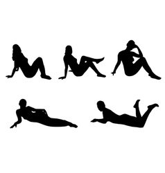 Woman silhouette set lying sitting vector image