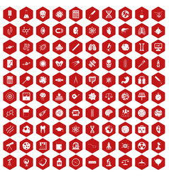 100 science icons hexagon red vector
