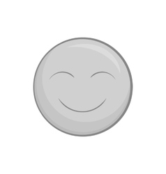 Smiley face icon black monochrome style vector