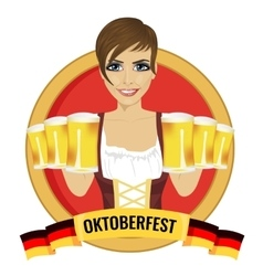 Girl holding beer mugs with oktoberfest ribbon vector