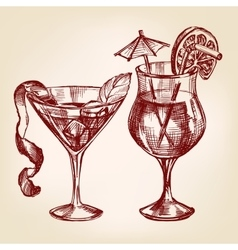 Cocktail set hand drawn llustration vector