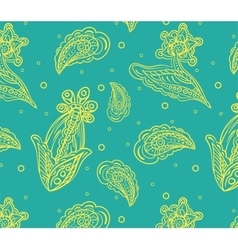 Seamless pattern with yellow detailed indian vector image