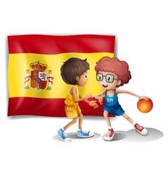 Boys playing basketball with the flag of spain vector