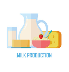 Traditional dairy products from milk vector