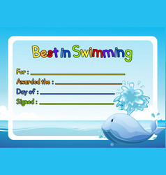 best in swimming award template with whale in vector image