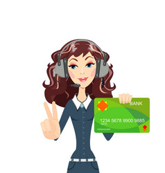 Call center woman operator shows plastic cards vector