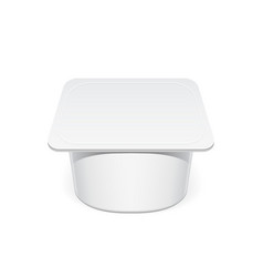 Realistic white plastic container for yogurt vector
