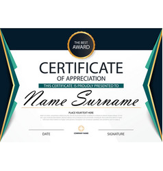 Green elegance horizontal certificate template vector
