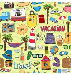 Seamless tropical vacation and travel pattern vector
