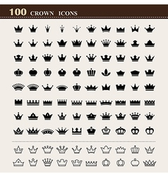 100 basic crown icons set vector