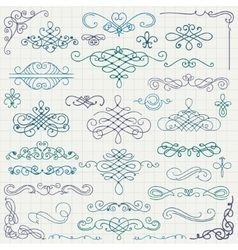 Colorful vintage hand drawn swirls vector