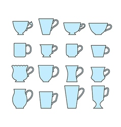 Set of mugs of different shapes vector