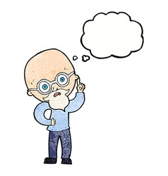 Cartoon old man with thought bubble vector