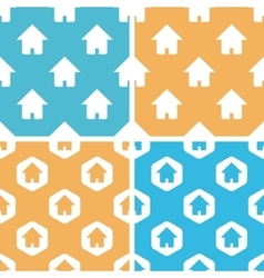 Home patterns set blue yellow vector