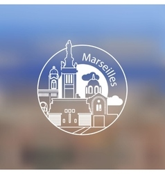 Minimalist round icon of marseille france flat vector