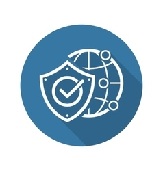 Global protection icon flat design vector