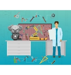 Mechanic developer in science and technology vector
