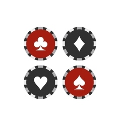 Card suit casino chips flat icon vector