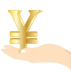 Sign japanese money in palm vector