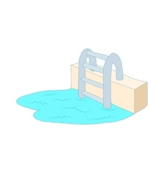 Swimming pool ladder icon cartoon style vector