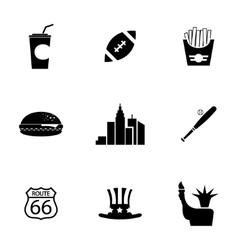 Black usa icons set vector