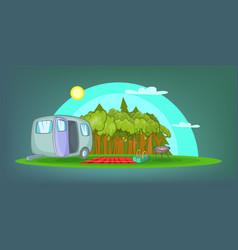 camping horizontal banner picnic cartoon style vector image
