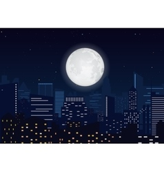 City in the night Cityscape night silhouette with vector image vector image