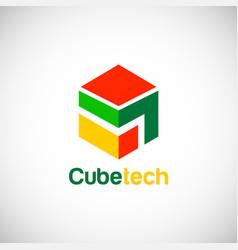 cube technology logo vector image vector image