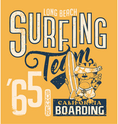 Cute cat surfing team vector