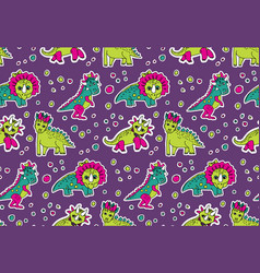 dinosaurs pink and purple seamless pattern vector image vector image