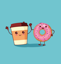 Donut and coffee characters icon vector