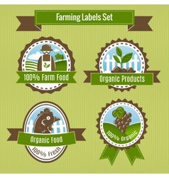 Farming harvesting and agriculture badges or vector image