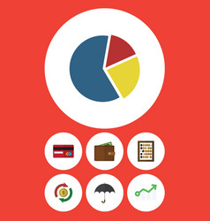 Flat icon finance set of growth counter parasol vector