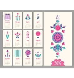 floral mini calendar 2016 vector image