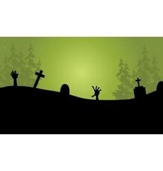 Halloween hand zombie in tomb vector