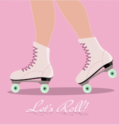 Invitation card with roller skates vector image