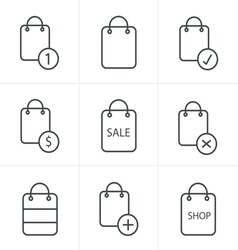 Line Icons Style Shopping bag icons on white backg vector image vector image