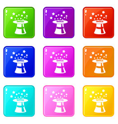 Magic hat with stars set 9 vector