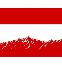 mountains with flag of Austria vector image vector image