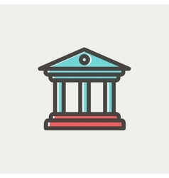 Museum building thin line icon vector