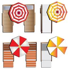 Outdoor furniture sunbeds set top view set 9 vector