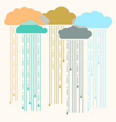 Rain image with stylish flat clouds vector